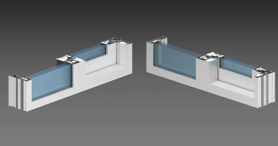 Узлы ALT SL160: профиль рамы SL160.0102 и SL160.0103, используются импосты W72 (в глухой части заполнение устанавливается на раму)